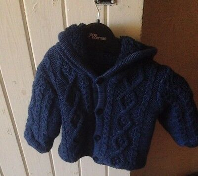 Mothercare Boys Blue Fluffy Jacket Size 3-6 Months