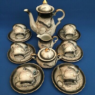 Japanese dragon ware coffee set for 6 - foreign stamp pre 1930
