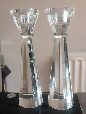 Pair of Modern Multi Faceted Crystal Glass Candlesticks Candle Holders