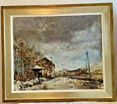 Michel Girard (b.1939) French Listed Artist Vintage Oil Painting Cityscape