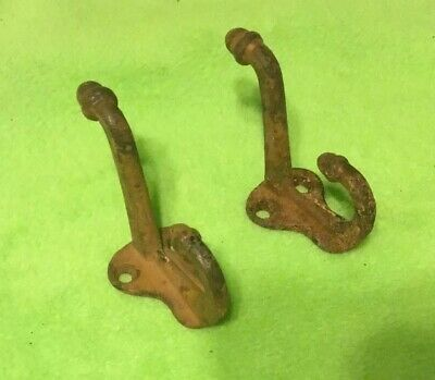 VTG ~HOOKS ~ Acorn Style  ~  Cast Iron ~ Large ~ Lot of 2 ~ Hat / Coat
