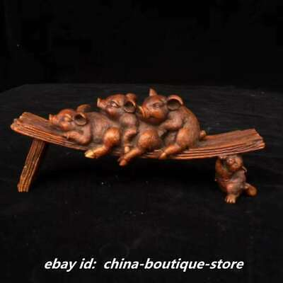 "6.7"" Collect Chinese Boxwood Hand Engraving Zodiac Animal Four Small Hog Statue"