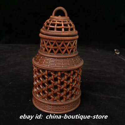 "5.5"" Collect Chinese Boxwood Hand Engraving Reticulation Hollow Out Cricket Jar"