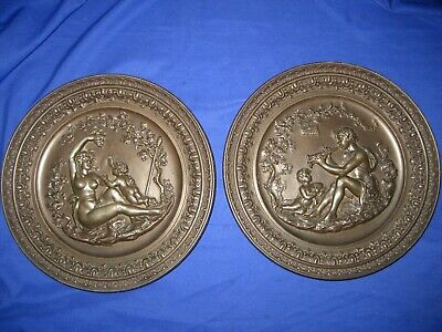Rare Pair of  Spelter /  Metal Cast  Wall Plaques  Plates Cherubs, Nude Vintage