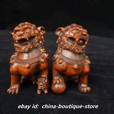 "3.5"" Collect Chinese Boxwood Hand Engraving Animal A Pair Lucky Lion Statue"