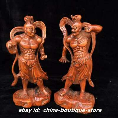 "7.9"" Collect Chinese Boxwood Hand Engraving Buddhism Two Door-god Hengha Statue"