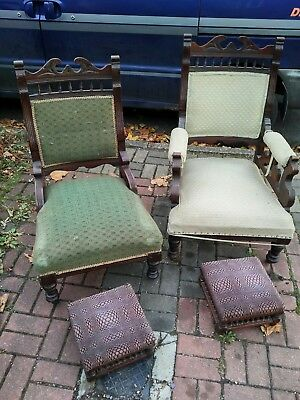 Pair Of Late 19th Century Victorian Parlour Chairs And Foot Stools