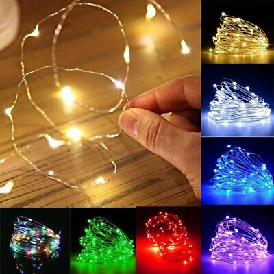 20 30 100 LED Battery Solar Fairy String Lights Mains Micro Rice Wire Xmas Party