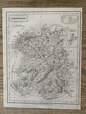 1833 Shropshire Original Antique County Map By Sidney Hall 186 Years Old