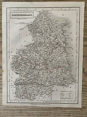 1833 Northumberland Original Antique County Map By Sidney Hall 186 Years Old