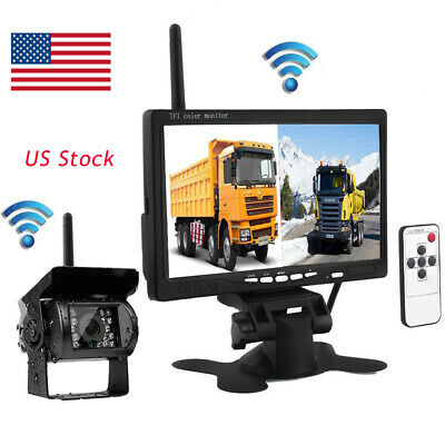 "Wireless IR Rear View Back up Camera Night Vision+7""Monitor for RV Truck Bus car"