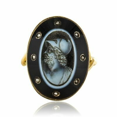 Ring Empire Cameo on Mother of Pearl, Onyx, & Diamonds Yellow Gold Empire
