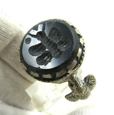 Authentic Post Medieval Silver Ring W/ Stone Intaglio Butterfly Wearable - J147