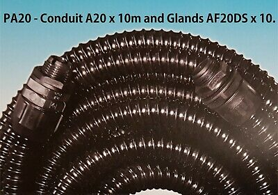 Flexible Conduit 20mm PVC Spiral Reinforced Contractor Pack IP65 10m & 10 Glands