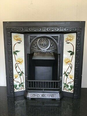 Restored Antique Style Cast Iron Art Nouveau Tiled Insert Fireplace (TA421)