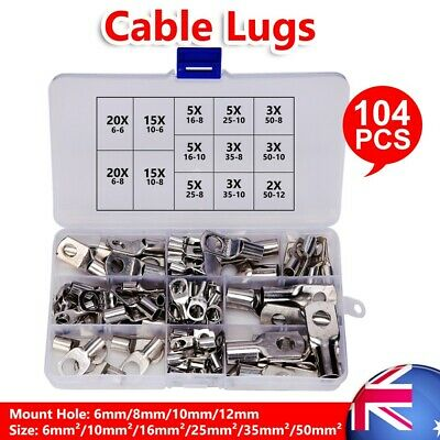 Copper Cable Lugs 104PC Kit 6mm 10mm 16mm 25mm 35mm 50mm Battery Terminal 4WD AU
