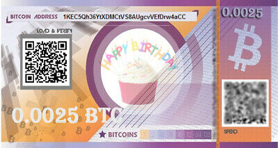 Prepaid birthday BITCOIN gift card  - 0.005 BTC