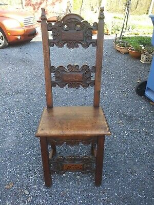 Antique Medieval Gothic Style Hand Carved Wood  Throne Chair handmade