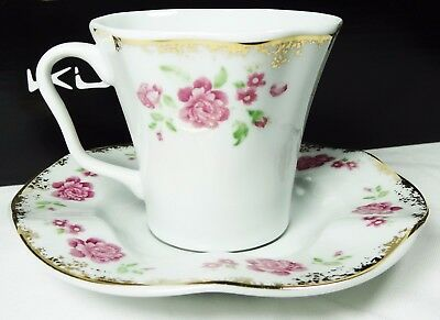 Turkish Anatolian Porcelain Coffee Set Gold and Floral Design -Christmas gift