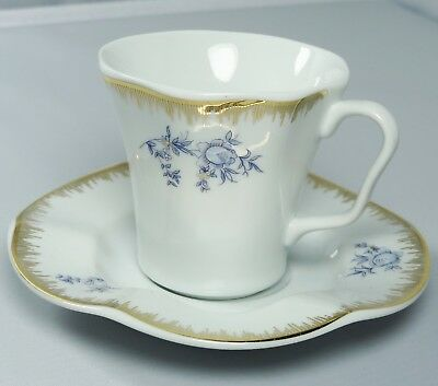 Turkish Anatolian Porcelain Coffee Set with Gold Rim and Blue Flowers-Great Gift