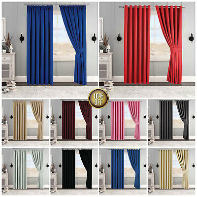 Thermal Blackout Ready Made Pair Curtains Eyelet Ring Top Pencil Pleat Tie backs