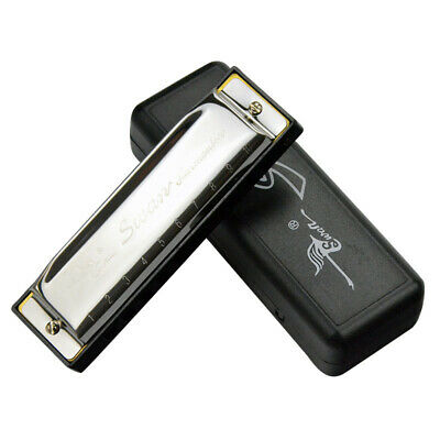1X(Swan Harmonica 10 Holes Key of C SILVER w/ Case Blues Harp Stainless SteP2L8)