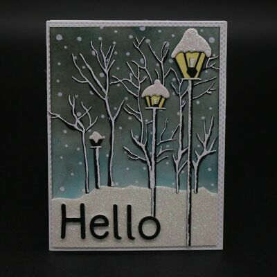 Winter Trees Lamps Street Light Metal Cutting Dies Stitched DIY Scrapbooking