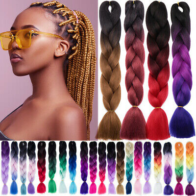 OMBRE RED BOX Braids Crochet Plaited Jumbo Braiding Hair Extensions Black  Brown