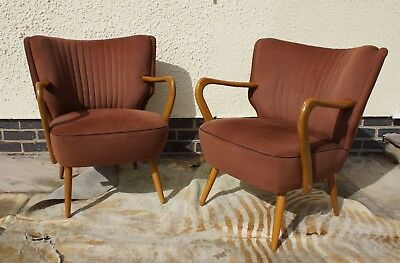 Pair Of Mid Century Vintage German  Armchairs / Chairs Great Condition Aug17-3