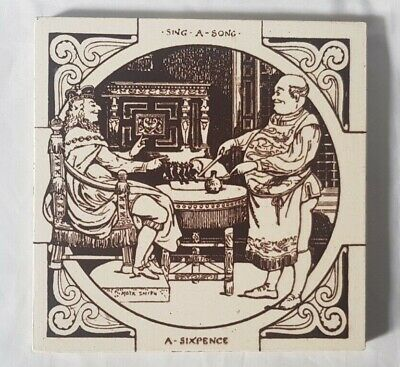 Charming Minton Victorian Sing A Song A Sixpence Nursery Rhyme Tile