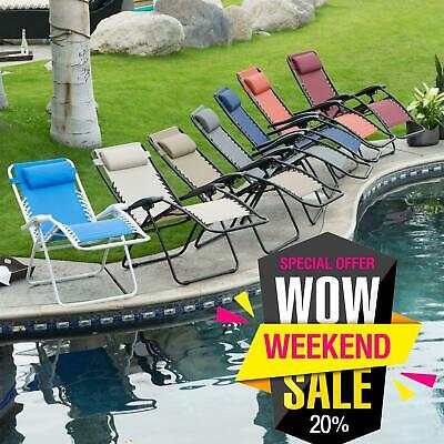 2Pcs Reclining Sun Lounger Outdoor Garden Patio Gravity Chair Adjustable Head