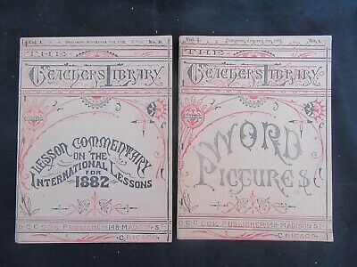 (2) Antique 1881 Teacher's Library, Word Pictures & International Lessons Vol.1