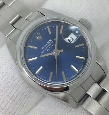 306ce98963c Ladies Rolex Oyster Perpetual Date Blue Dial Automatic 26mm 1989 [69160]