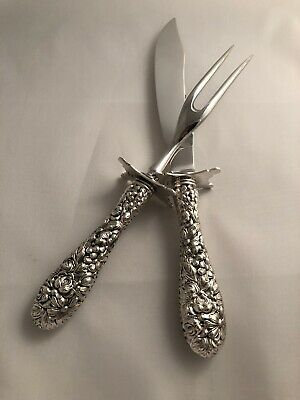 Stieff Rose Carving Set By The Stieff Company, Sterling Silver, Antique 1892