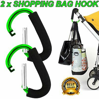 2x BUGGY CLIPS LARGE PRAM PUSHCHAIR SHOPPING BAG HOOK MUMMY CARRY CLIP