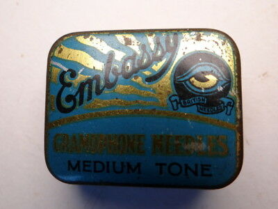 Gramophone Needle Tin, Embassy Blue With Contents.