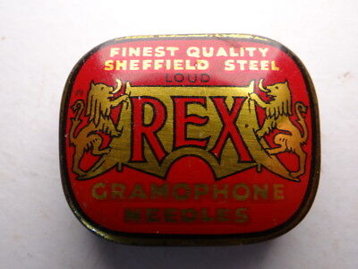 Gramophone Needle Tin, Red Rex. Good Condition.
