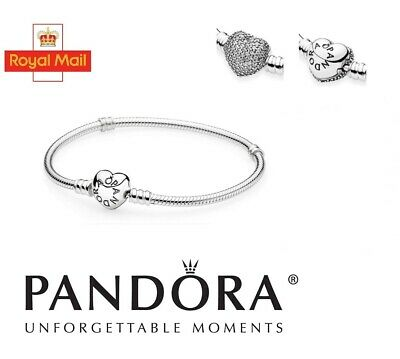 New Genuine 925 Sterling Silver Pandora Moments Pave Heart Clasp Charm Bracelet