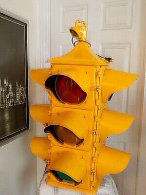 Vintage Refurbished 4 Way Traffic Light Signal with Sequencer