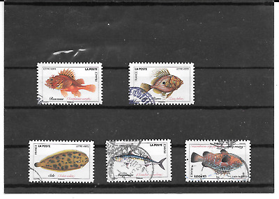 France 2019.Poissons De Mer. Lot De 5 Timbres Autoadhesifs Cachets Ronds