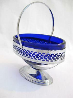 Jam dish Pierced Chrome footed basket with deep blue glass liner Art deco VGC