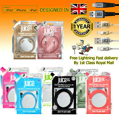 Juice Lightning Charge Sync Cable iPhone iPad iPod 1m 2m 3m Various Colours