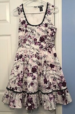 460a5a9791c0 Hot Topic Rose Music Note Sleeveless Dress Purple Black White *size Medium  Swing