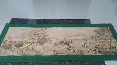 "Antique 19c Aubusson English style French Tapestry 24""x62(cm61x154) Beautiful"