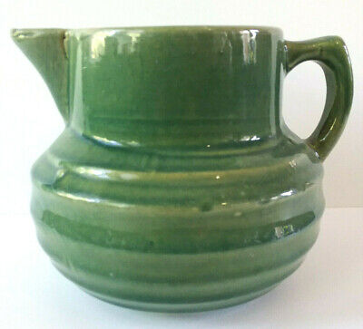 1920s Art Deco McCoy Pottery Arts & Crafts Green Pitcher Jug Rings Design