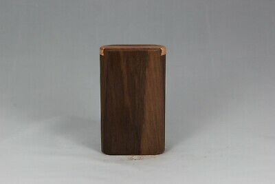 "3""  Walnut Wood Dugout One Hitter Slide Top With Solid Brass Bat"