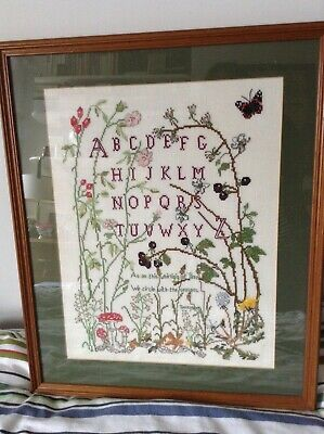 Large Framed Cross Stitch Featuring The Alphabet And Tennyson Poem