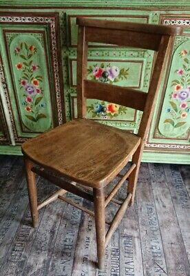 Victorian Beech And Elm Chapel Chair Church Chair rustic Country dining English.