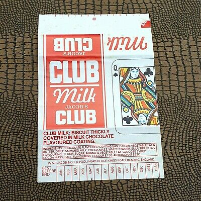JACOBS CLUB milk chocolate wrapper VINTAGE PACKAGING PLAYING CARD CLASSIC DESIGN