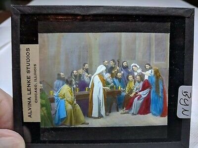 COLORED Glass Magic Lantern Slide BYN Cast on THE STAGE PASSION PLAY CHRIST #48
